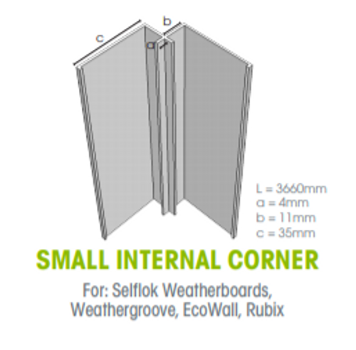 Megatimber Buy Timber Online  Weathertex Small Internal Aluminium Corner 3660mm 55907