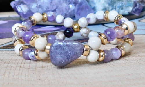 **Lepidolite Double Twisted Bracelet