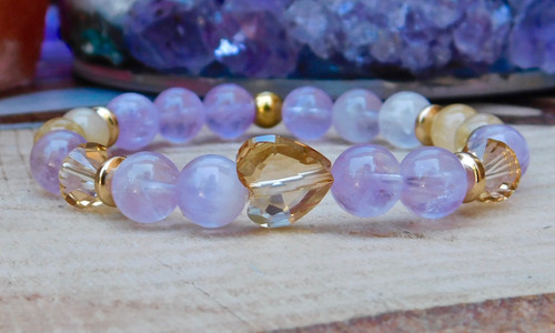 Lavender Amethyst and Gold Heart