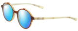 Profile View of Eyebobs Flip Designer Polarized Sunglasses with Custom Cut Blue Mirror Lenses in Brown Crystal Ivory White Horn Marble Unisex Round Full Rim Acetate 50 mm