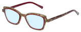 Profile View of Eyebobs Flirt Designer Progressive Lens Blue Light Blocking Eyeglasses in Red Crystal Brown Horn Marble Ladies Cateye Full Rim Acetate 48 mm