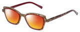 Profile View of Eyebobs Flirt Designer Polarized Sunglasses with Custom Cut Red Mirror Lenses in Red Crystal Brown Horn Marble Ladies Cateye Full Rim Acetate 48 mm