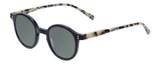 Profile View of Eyebobs Frizz Bee Designer Polarized Sunglasses with Custom Cut Smoke Grey Lenses in Black Ivory White Tortoise Havana Ladies Round Full Rim Acetate 39 mm
