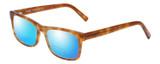 Profile View of Eyebobs Full Zip Designer Polarized Reading Sunglasses with Custom Cut Powered Blue Mirror Lenses in Light Brown Gold Tortoise Crystal Unisex Square Full Rim Acetate 57 mm