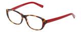 Profile View of Eyebobs Hanky Panky Designer Single Vision Prescription Rx Eyeglasses in Tortoise Brown Gold Crystal Red Ladies Cateye Full Rim Acetate 52 mm