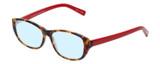 Profile View of Eyebobs Hanky Panky Designer Blue Light Blocking Eyeglasses in Tortoise Brown Gold Crystal Red Ladies Cateye Full Rim Acetate 52 mm