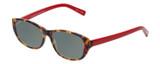 Profile View of Eyebobs Hanky Panky Designer Polarized Sunglasses with Custom Cut Smoke Grey Lenses in Tortoise Brown Gold Crystal Red Ladies Cateye Full Rim Acetate 52 mm