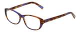 Profile View of Eyebobs Hanky Panky Designer Single Vision Prescription Rx Eyeglasses in Tortoise Purple Brown Gold Crystal Ladies Cateye Full Rim Acetate 52 mm