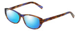 Profile View of Eyebobs Hanky Panky Designer Polarized Reading Sunglasses with Custom Cut Powered Blue Mirror Lenses in Tortoise Purple Brown Gold Crystal Ladies Cateye Full Rim Acetate 52 mm