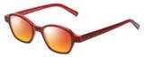 Profile View of Eyebobs Haute Flash Designer Polarized Sunglasses with Custom Cut Red Mirror Lenses in Red Glitter Black Polka Dot Ladies Square Full Rim Acetate 46 mm