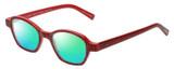 Profile View of Eyebobs Haute Flash Designer Polarized Reading Sunglasses with Custom Cut Powered Green Mirror Lenses in Red Glitter Black Polka Dot Ladies Square Full Rim Acetate 46 mm