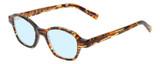 Profile View of Eyebobs Haute Flash Designer Progressive Lens Blue Light Blocking Eyeglasses in Tortoise Brown Gold Orange Crystal Ladies Square Full Rim Acetate 46 mm