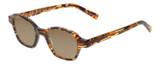 Profile View of Eyebobs Haute Flash Designer Polarized Sunglasses with Custom Cut Amber Brown Lenses in Tortoise Brown Gold Orange Crystal Ladies Square Full Rim Acetate 46 mm