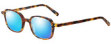 Profile View of Eyebobs Been There 2291-19 Designer Polarized Sunglasses with Custom Cut Blue Mirror Lenses in Matte Tortoise Havana Brown Gold Unisex Oval Full Rim Acetate 45 mm
