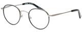 Profile View of Eyebobs BFF 3173-00 Designer Reading Eye Glasses with Custom Cut Powered Lenses in Silver Black Unisex Oval Full Rim Metal 46 mm