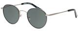 Profile View of Eyebobs BFF 3173-00 Designer Polarized Sunglasses with Custom Cut Smoke Grey Lenses in Silver Black Unisex Oval Full Rim Metal 46 mm