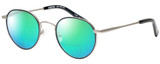 Profile View of Eyebobs BFF 3173-00 Designer Polarized Reading Sunglasses with Custom Cut Powered Green Mirror Lenses in Silver Black Unisex Oval Full Rim Metal 46 mm