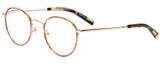 Profile View of Eyebobs BFF 3173-06 Designer Reading Eye Glasses with Custom Cut Powered Lenses in Orange Tortoise Havana Gold Unisex Oval Full Rim Metal 46 mm