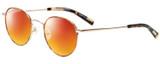 Profile View of Eyebobs BFF 3173-06 Designer Polarized Sunglasses with Custom Cut Red Mirror Lenses in Orange Tortoise Havana Gold Unisex Oval Full Rim Metal 46 mm