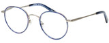 Profile View of Eyebobs BFF 3173-10 Designer Reading Eye Glasses with Custom Cut Powered Lenses in Blue Silver Unisex Oval Full Rim Metal 46 mm
