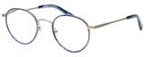 Profile View of Eyebobs BFF 3173-10 Designer Single Vision Prescription Rx Eyeglasses in Blue Silver Unisex Oval Full Rim Metal 46 mm