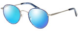 Profile View of Eyebobs BFF 3173-10 Designer Polarized Sunglasses with Custom Cut Blue Mirror Lenses in Blue Silver Unisex Oval Full Rim Metal 46 mm