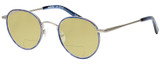 Profile View of Eyebobs BFF 3173-10 Designer Polarized Reading Sunglasses with Custom Cut Powered Sun Flower Yellow Lenses in Blue Silver Unisex Oval Full Rim Metal 46 mm