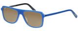 Profile View of Eyebobs Buzzed 2293-10 Designer Polarized Sunglasses with Custom Cut Amber Brown Lenses in Blue Black Unisex Square Full Rim Acetate 52 mm