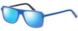 Profile View of Eyebobs Buzzed 2293-10 Designer Polarized Reading Sunglasses with Custom Cut Powered Blue Mirror Lenses in Blue Black Unisex Square Full Rim Acetate 52 mm