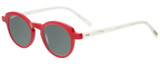 Profile View of Eyebobs Cabaret 2296-01 Designer Polarized Sunglasses with Custom Cut Smoke Grey Lenses in Red White Crystal Marble Ladies Round Full Rim Acetate 40 mm