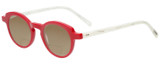 Profile View of Eyebobs Cabaret 2296-01 Designer Polarized Reading Sunglasses with Custom Cut Powered Amber Brown Lenses in Red White Crystal Marble Ladies Round Full Rim Acetate 40 mm
