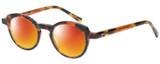 Profile View of Eyebobs Cabaret 2296-30 Designer Polarized Sunglasses with Custom Cut Red Mirror Lenses in Crystal Tortoise Havana Brown Gold Ladies Round Full Rim Acetate 40 mm