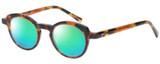 Profile View of Eyebobs Cabaret 2296-30 Designer Polarized Reading Sunglasses with Custom Cut Powered Green Mirror Lenses in Crystal Tortoise Havana Brown Gold Ladies Round Full Rim Acetate 40 mm
