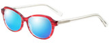 Profile View of Eyebobs CPA 2738-01 Designer Polarized Sunglasses with Custom Cut Blue Mirror Lenses in Red Crystal Ladies Cateye Full Rim Acetate 51 mm