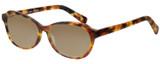 Profile View of Eyebobs CPA 2738-19 Designer Polarized Sunglasses with Custom Cut Amber Brown Lenses in Matte Tortoise Havana Brown Gold Unisex Cateye Full Rim Acetate 51 mm