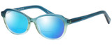 Profile View of Eyebobs CPA 2738-59 Designer Polarized Reading Sunglasses with Custom Cut Powered Blue Mirror Lenses in Blue Green Crystal Fade Unisex Cateye Full Rim Acetate 51 mm