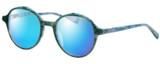 Profile View of Eyebobs Flip 2607-59 Designer Polarized Sunglasses with Custom Cut Blue Mirror Lenses in Blue Green Marble Ladies Round Full Rim Acetate 50 mm