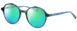 Profile View of Eyebobs Flip 2607-59 Designer Polarized Reading Sunglasses with Custom Cut Powered Green Mirror Lenses in Blue Green Marble Ladies Round Full Rim Acetate 50 mm