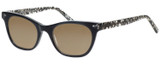Profile View of Eyebobs Florence 2746-00 Designer Polarized Sunglasses with Custom Cut Amber Brown Lenses in Black Crystal Ladies Cateye Full Rim Acetate 47 mm