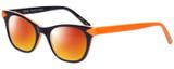 Profile View of Eyebobs Florence 2746-77 Designer Polarized Sunglasses with Custom Cut Red Mirror Lenses in Deep Purple Orange Ladies Cateye Full Rim Acetate 47 mm