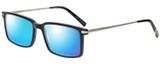 Profile View of Eyebobs Gus 3155-00 Designer Polarized Sunglasses with Custom Cut Blue Mirror Lenses in Black Silver Mens Rectangle Full Rim Acetate 57 mm