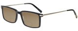 Profile View of Eyebobs Gus 3155-00 Designer Polarized Reading Sunglasses with Custom Cut Powered Amber Brown Lenses in Black Silver Mens Rectangle Full Rim Acetate 57 mm