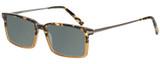 Profile View of Eyebobs Gus 3155-77 Designer Polarized Reading Sunglasses with Custom Cut Powered Smoke Grey Lenses in Tortoise Amber Fade Gunmetal Mens Rectangle Full Rim Acetate 57 mm
