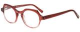 Profile View of Eyebobs Heda Letus 2744-01 Designer Reading Eye Glasses with Custom Cut Powered Lenses in Red Pink Stripe Crystal Ladies Round Full Rim Acetate 47 mm
