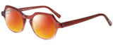 Profile View of Eyebobs Heda Letus 2744-01 Designer Polarized Sunglasses with Custom Cut Red Mirror Lenses in Red Pink Stripe Crystal Ladies Round Full Rim Acetate 47 mm