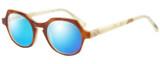 Profile View of Eyebobs Heda Letus 2744-06 Designer Polarized Sunglasses with Custom Cut Blue Mirror Lenses in Tortoise Marble White Horn Unisex Round Full Rim Acetate 47 mm