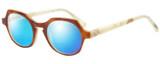 Profile View of Eyebobs Heda Letus 2744-06 Designer Polarized Reading Sunglasses with Custom Cut Powered Blue Mirror Lenses in Tortoise Marble White Horn Unisex Round Full Rim Acetate 47 mm
