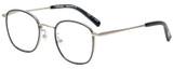 Profile View of Eyebobs Inside 3174-00 Designer Reading Eye Glasses with Custom Cut Powered Lenses in Black Silver Unisex Square Full Rim Metal 48 mm