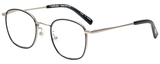 Profile View of Eyebobs Inside 3174-00 Designer Single Vision Prescription Rx Eyeglasses in Black Silver Unisex Square Full Rim Metal 48 mm