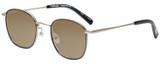 Profile View of Eyebobs Inside 3174-00 Designer Polarized Sunglasses with Custom Cut Amber Brown Lenses in Black Silver Unisex Square Full Rim Metal 48 mm